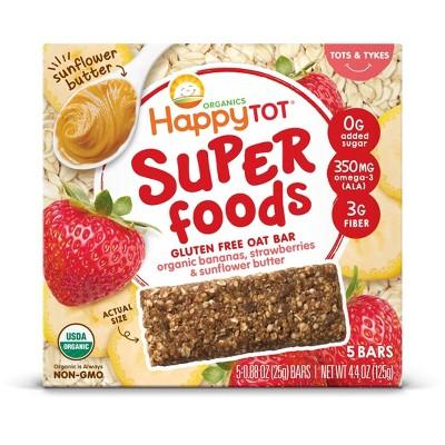 HappyTot Super Foods Oat Bar Banana Strawberry & Sunflower Butter - 5ct/0.88oz Each