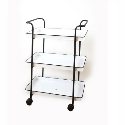 Lakeside 3-Tier Rolling Serving Cart with Enamel-Look Trays - Mobile Service Solution