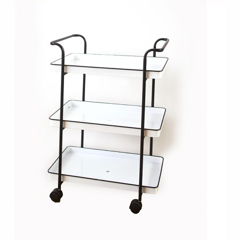 Lakeside 3-Tier Rolling Serving Cart with Enamel-Look Trays - Mobile Service Solution - image 1 of 2