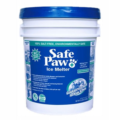 Safe Paw Dog Pet Non Toxic Environmentally Friendly Saltless Ice Melt for Driveway, Sidewalk, Cured Concrete, Various Terrain, 35 Pound Pail