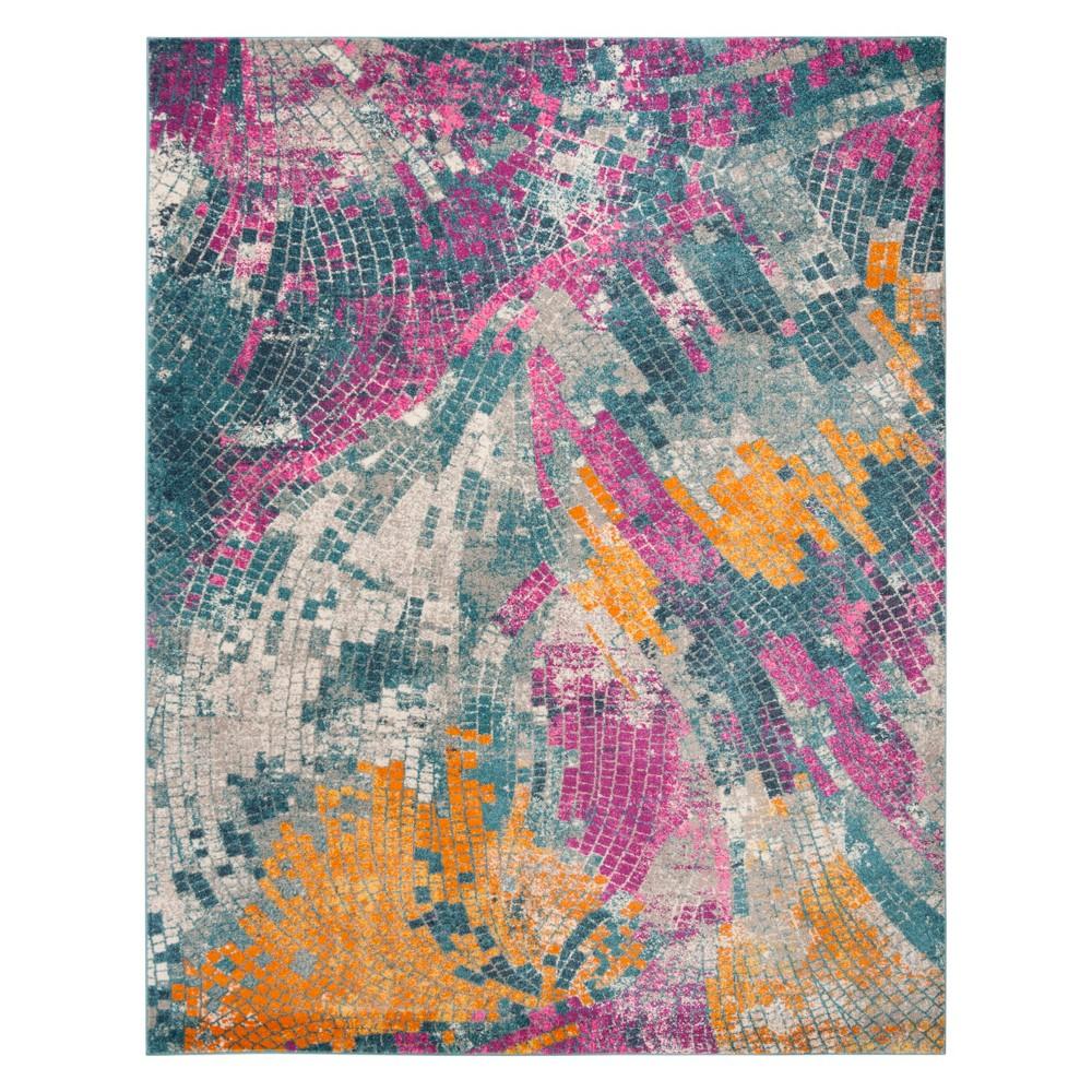 Mosaic Design Loomed Area Rug Blue