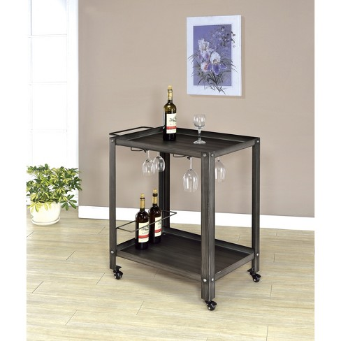 Sun & Pine Layster Industrial Metal Serving Cart Metal/Black/Brushed Silver - image 1 of 2