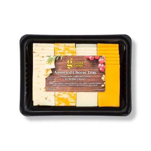 Pepper Jack, Colby Jack, Swiss & Cheddar Assorted Cheese Tray - 16oz - Good & Gather™ - image 1 of 1