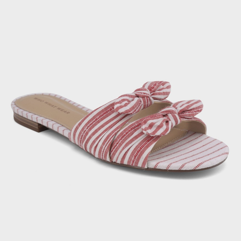 Best Price Women Florence Striped Bow Slide Sandals Who What Wear Red 8