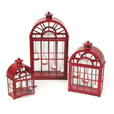 Melrose Set of 3 Eco Country Red Christmas Tea Light Candle Lanterns