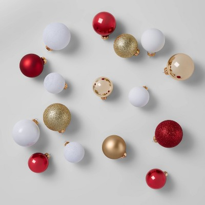 42ct Round Glass Ornaments White Gold & Red - Wondershop™