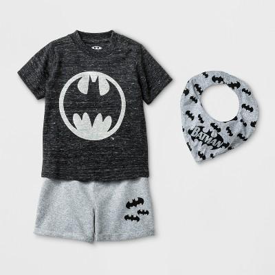 Baby Boys' 3pc DC Comics Batman Short Sleeve T-Shirt, Shorts, & Bib Set - Black 3-6M