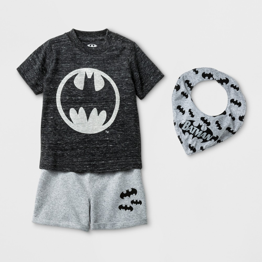 Baby Boys' 3pc DC Comics Batman Short Sleeve T-Shirt, Shorts, & Bib Set - Black Newborn