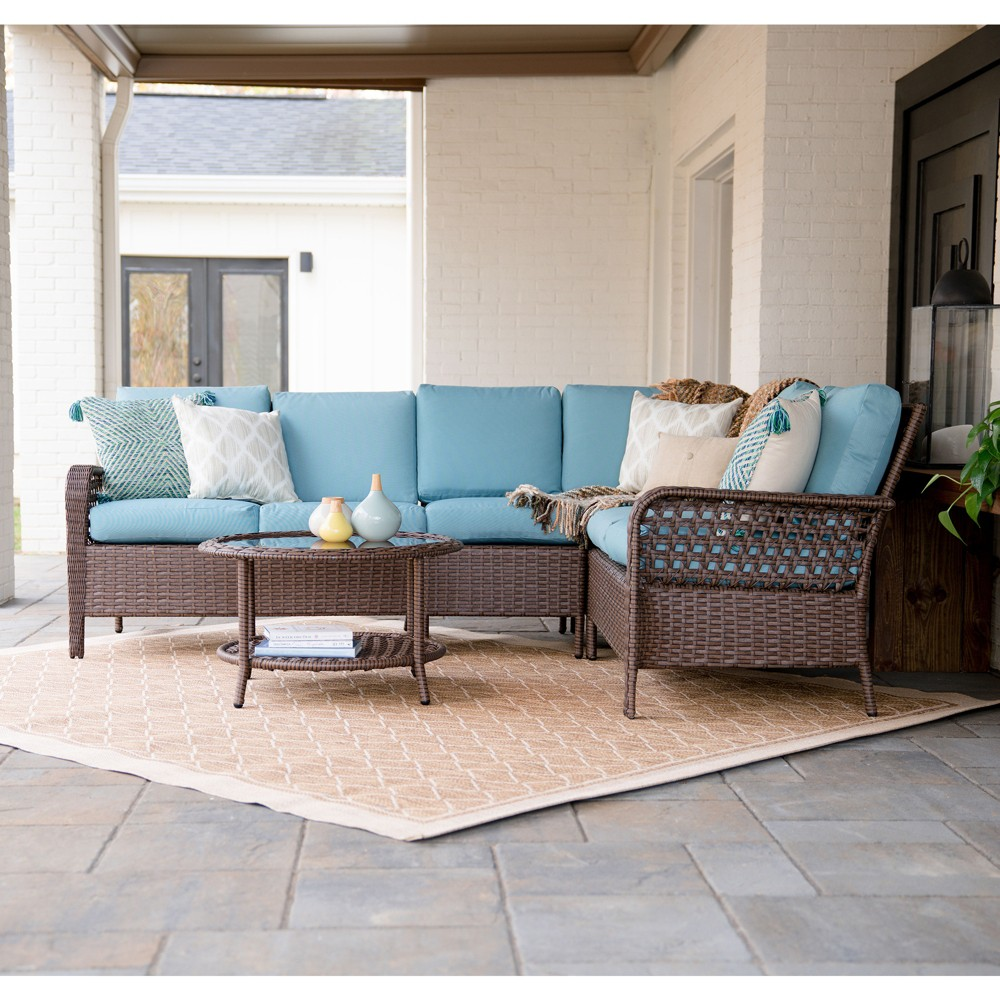 5pc Bessemer All-Weather Wicker Corner Sectional Blue - Leisure Made