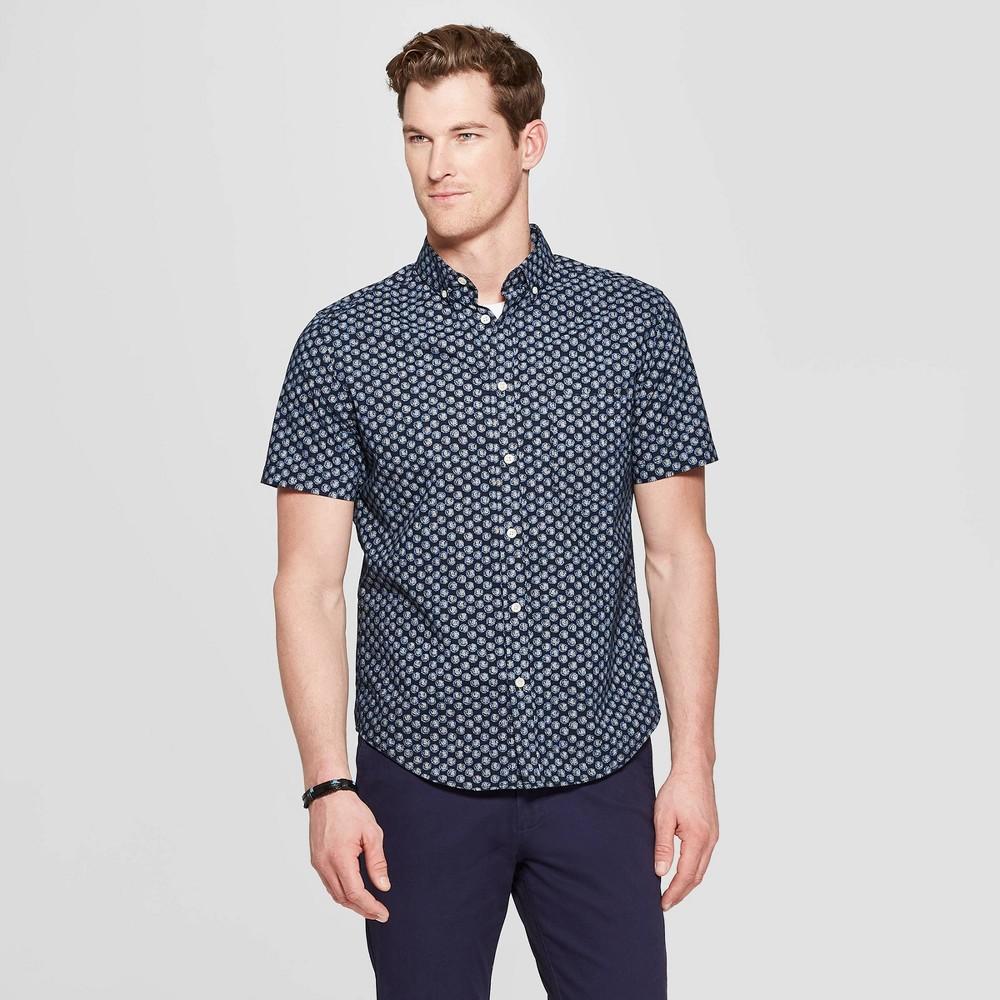 Men's Printed Standard Fit Short Sleeve Poplin Button-Down Shirt - Goodfellow & Co Federal Blue L