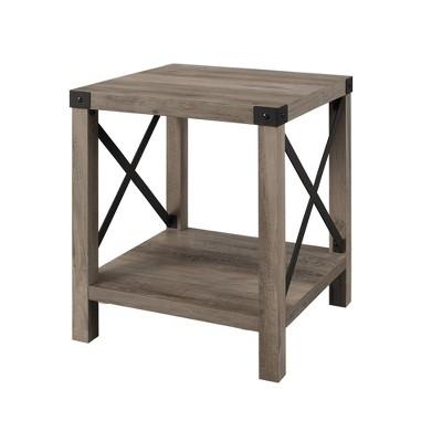 "18"" Rustic Farmhouse Metal X Frame Side Table with Wood and Metal Gray Wash - Saracina Home"