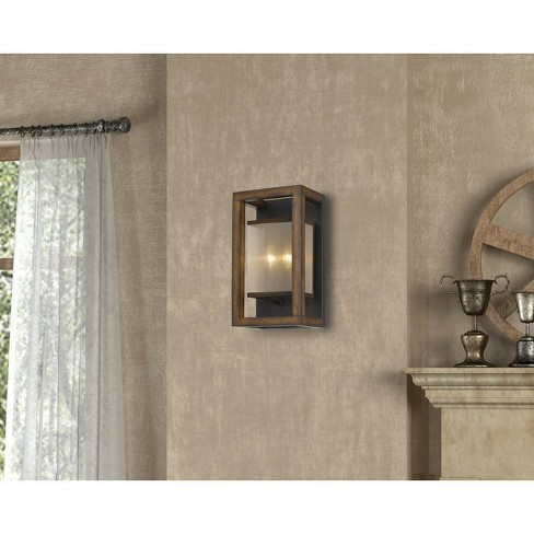 40W X 2 Rubber Wood Wall Sconce With Organza Shade - Cal Lighting - image 1 of 1