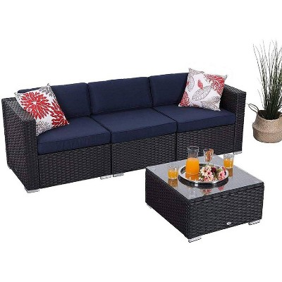 4pc Patio Wicker Sectional Set - Navy - Captiva Designs