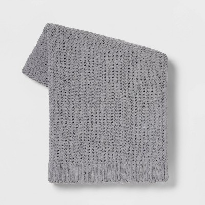 Solid Chenille Knit Throw Blanket Gray - Threshold™
