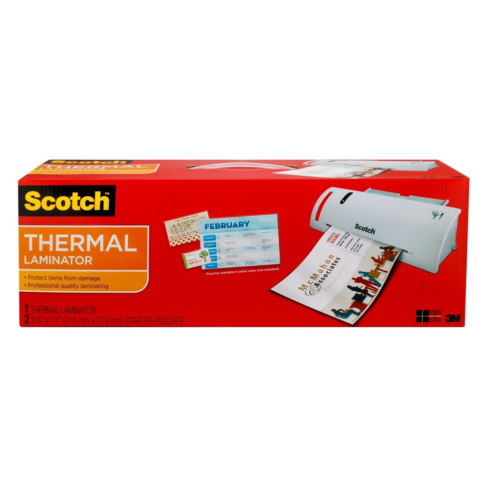 Scotch Thermal Laminator with 2 Starter Pouches 8.5 x 11 White (TL902)