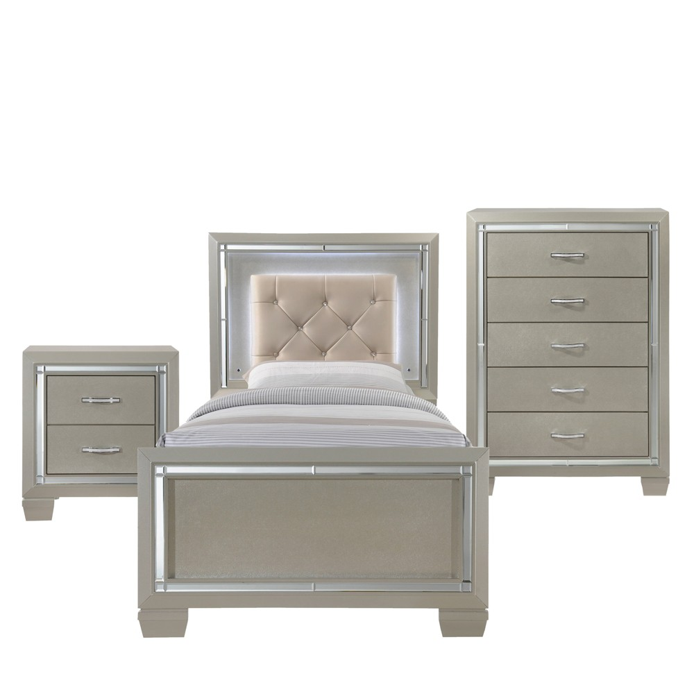 Image of 3pc Glamour Youth Twin Platform Bedroom Set Champagne - Picket House Furnishings, Beige