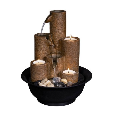 """Alpine Corporation 11"""" Tiered Column Tabletop Fountain With Three Candles - Multi Color"""