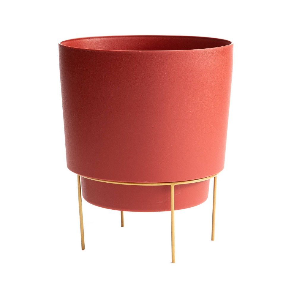 Hopson Planter With 10 34 Metal Stand Red Gold Bloem