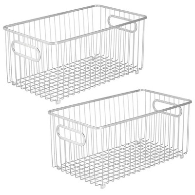 mDesign Metal Bathroom Storage Organizer Basket Bin, 2 Pack