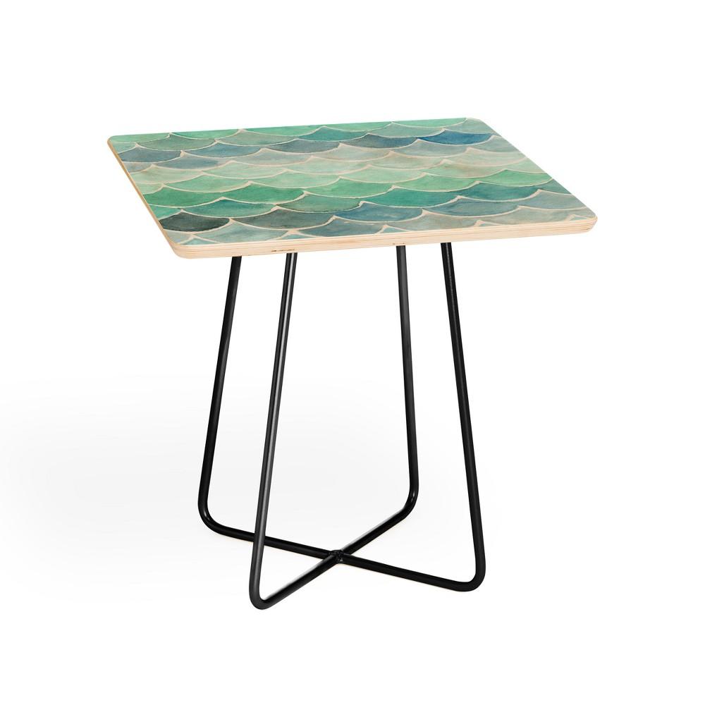 Wonder Forest Mermaid Scales Side Table Blue & Black - Deny Designs