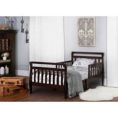 Beau Wood Sleigh Wooden Toddler Bed In Espresso Brown   Dream On Me