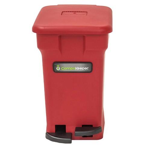 CompoKeeper Kitchen 6 Gallon Compost Organic Waste Kitchen Bin Trash Can,  Red