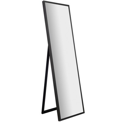 "16""x57"" Framed Floor Free Standing Mirror with Easel Gray - Gallery Solutions"