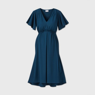 Short Sleeve Woven Maternity Dress - Isabel Maternity by Ingrid & Isabel™ Blue M
