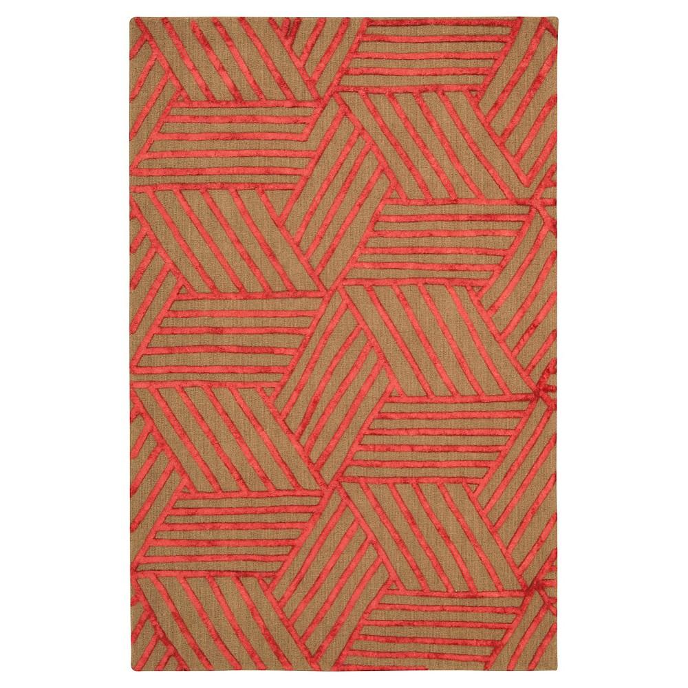 Natural Fiber Rug - Latte/Red - (5'x7'6) - Safavieh, Brown