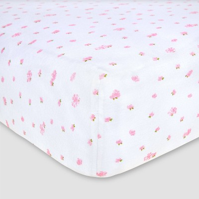 Burt's Bees Baby® Organic Fitted Crib Sheet - Butterfly Garden - Blossom Pink