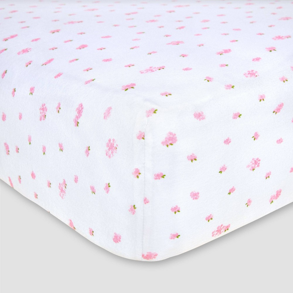 Image of Burt's Bees Baby Organic Fitted Crib Sheet - Butterfly Garden - Blossom Pink