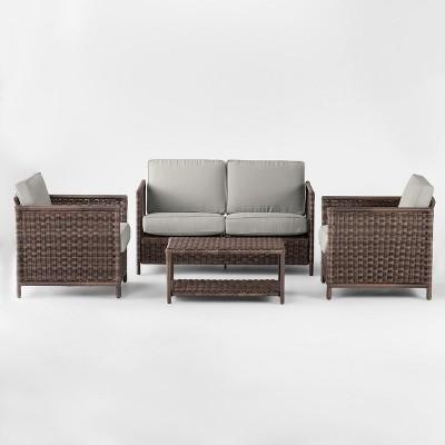 Monroe 4pc Patio Conversation Set - Gray - Threshold™