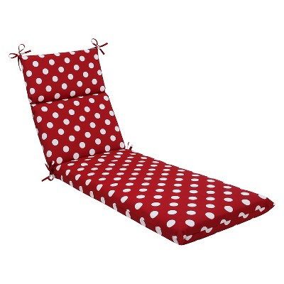 Outdoor Chaise Lounge Cushion - Red/White Polka Dot