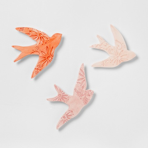 Earthenware Bird Wall Decor Pink (Set of 3) - Opalhouse™ : Target