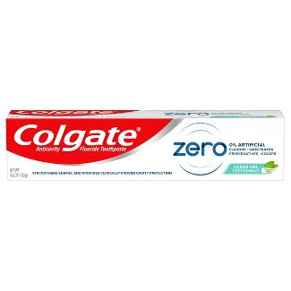 Colgate Zero Toothpaste with Fluoride - Natural Peppermint Flavor - 4.6oz
