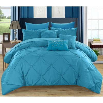 King 10pc Valentina Comforter Set Blue - Chic Home Design