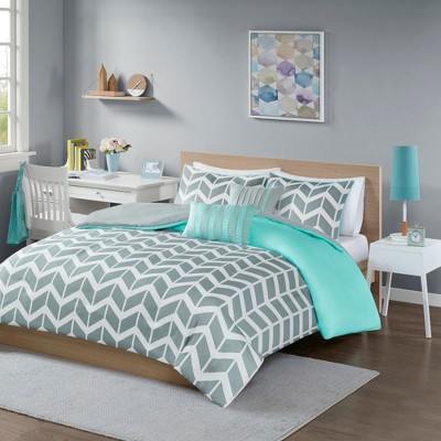 Teal Chevron Darcy Duvet Cover Set (King/California King)- 5pc