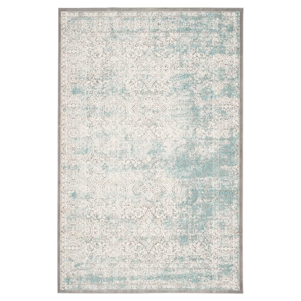 Banha Area Rug Turquoise Ivory 6 39 7 34 X 9 39 2 34 Safavieh