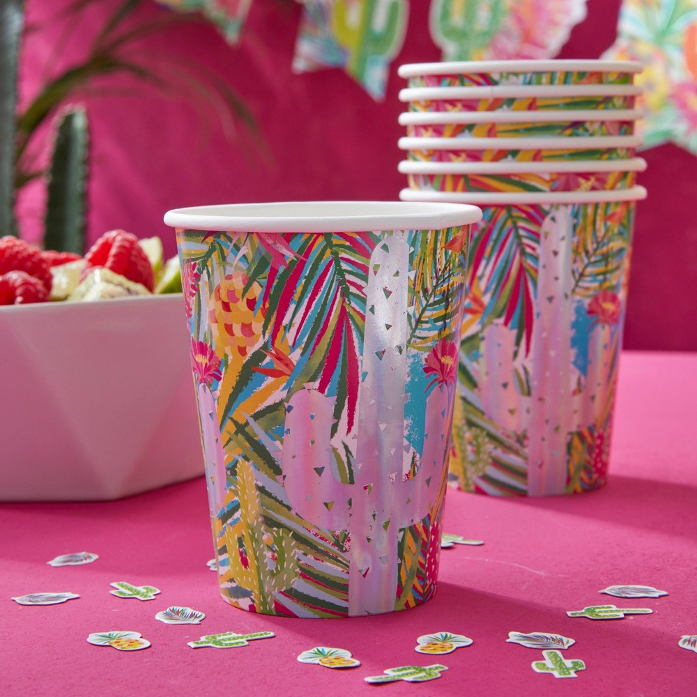 Image of Iridescent Cactus & Palm Paper Cups