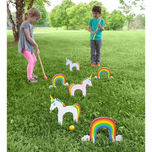HearthSong - Unicorn Wooden Croquet Set for Kids Outdoor Active Play - image 1 of 3