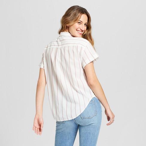 7c2ae86f2ee4b Women s Striped Short Sleeve Button-Down Shirt - Universal Thread™ Cream    Target