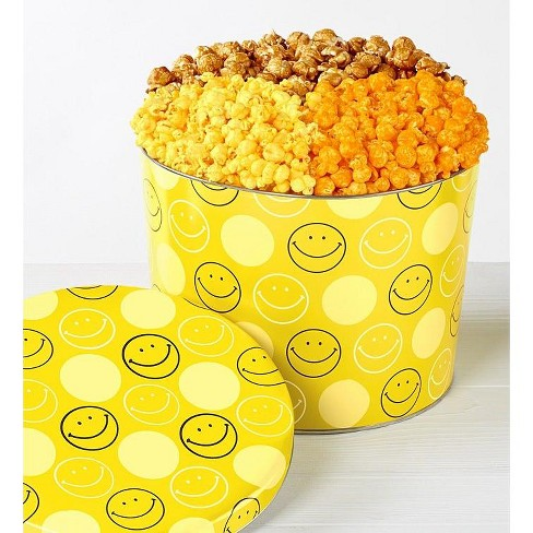 The Popcorn Factory Gift Tin, Smiley Face, 3.5 Gallons (Robust Cheddar, Butter, Caramel). - image 1 of 1