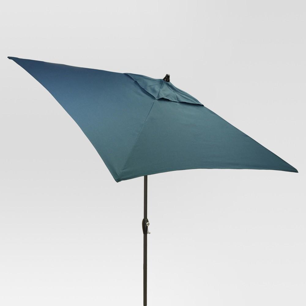 6.5' Square Umbrella - Medium Blue - Black Pole - Threshold