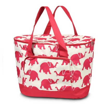 Zodaca Fashionable Large Cooler Bag, Red Elephant