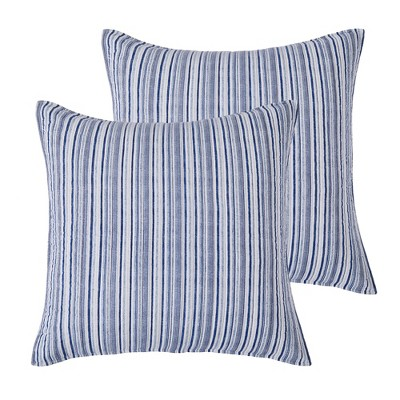 Avellino Blue Quilted Euro Sham - 2pk - Levtex Home