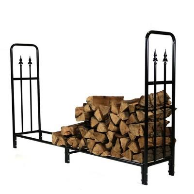 Sunnydaze Indoor/Outdoor Powder-Coated Steel Fire Pit or Fireplace Firewood Log Rack Holder - 6' - Black