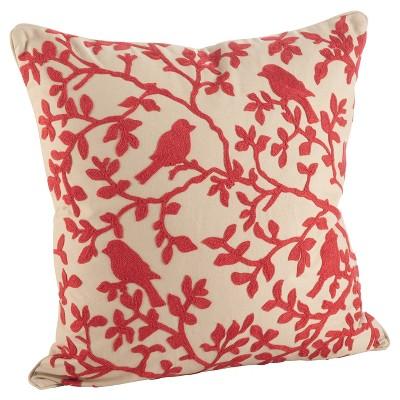 Red Embroidered Bird Branch Throw Pillow (18 )- Saro Lifestyle®