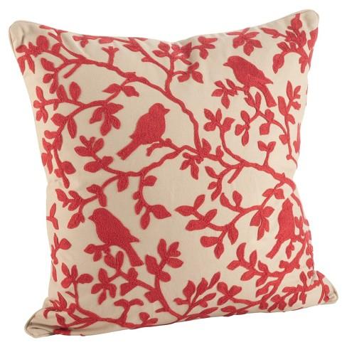 Red Embroidered Bird Branch Throw Pillow 18 Saro Lifestyle