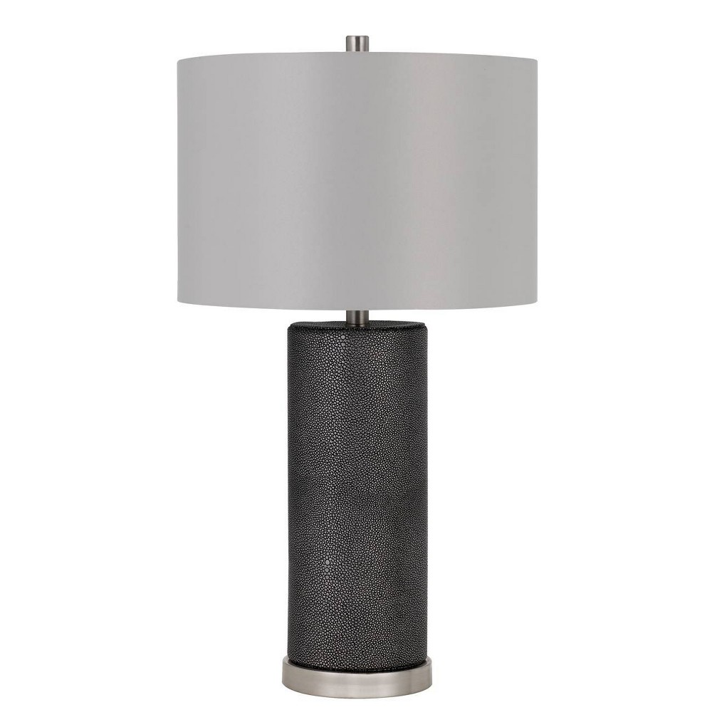 27 34 Graham Ceramic Table Lamp With Leatherette Finish Base Gray Cal Lighting