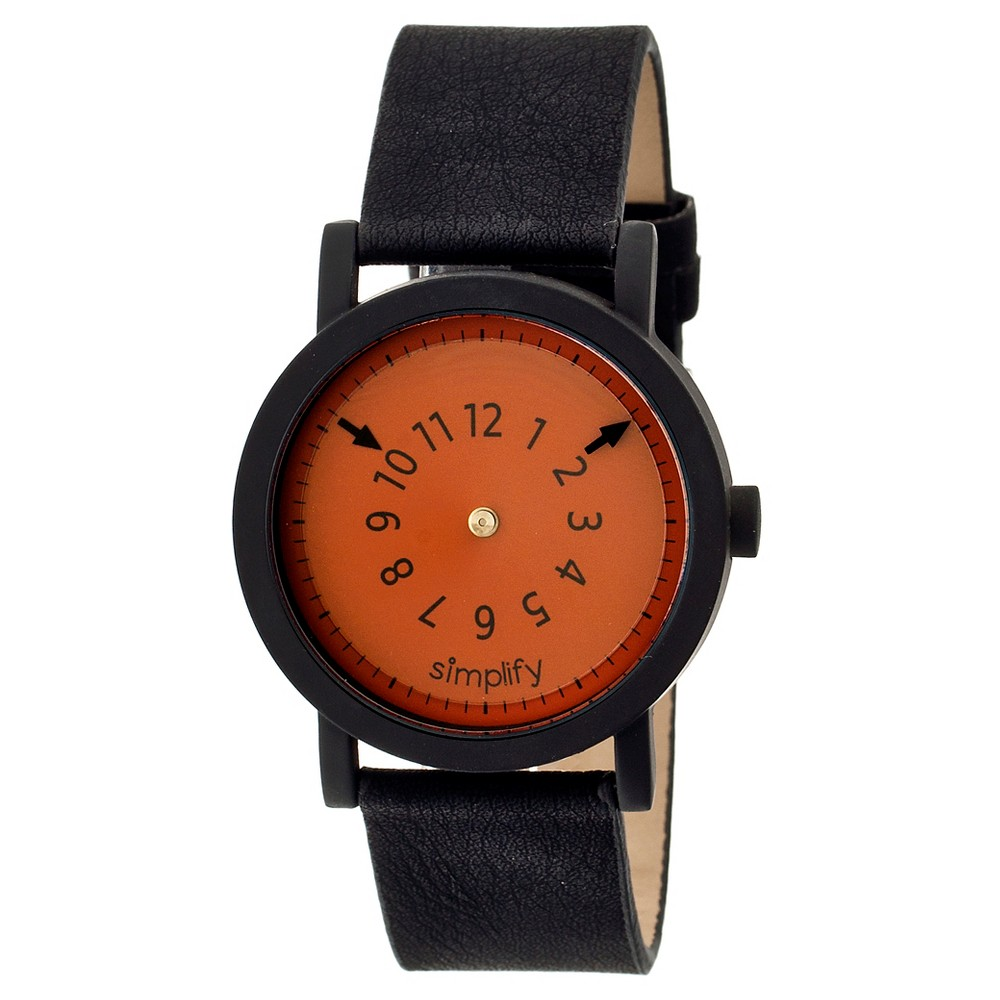 Simplify The 2300 Men's Suede - Overlaid Leather Strap Watch - Orange